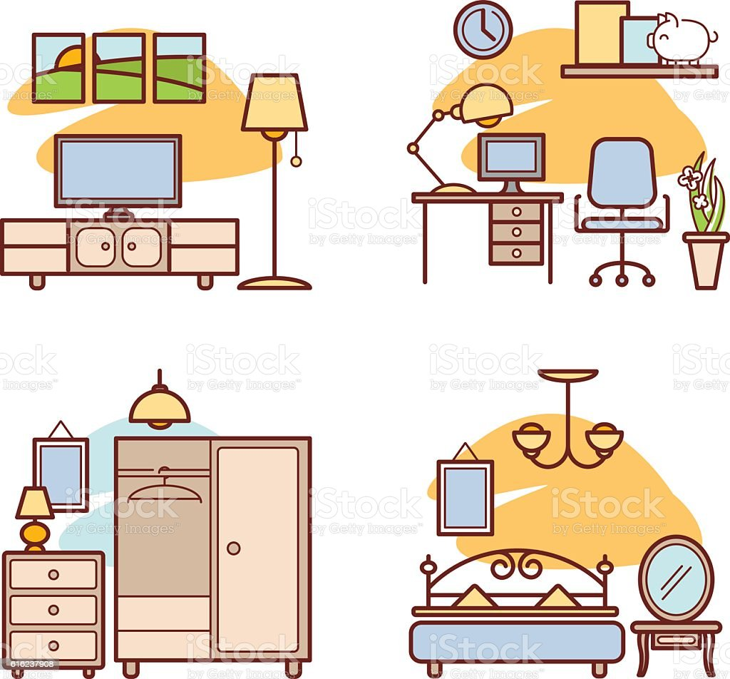 Home Room Icons Living Room Bedroom Work Space Stock Vector Art ...