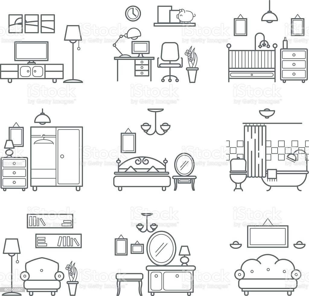 Home Room Icons Set Interior Design Room Types Stock Vector Art ...