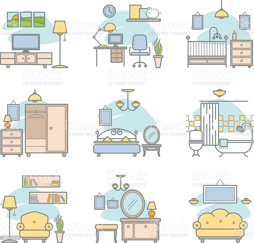 Home room icons set. Lving room, bedroom, bathroom, work space vector art illustration