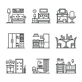 Home room types furniture signs set