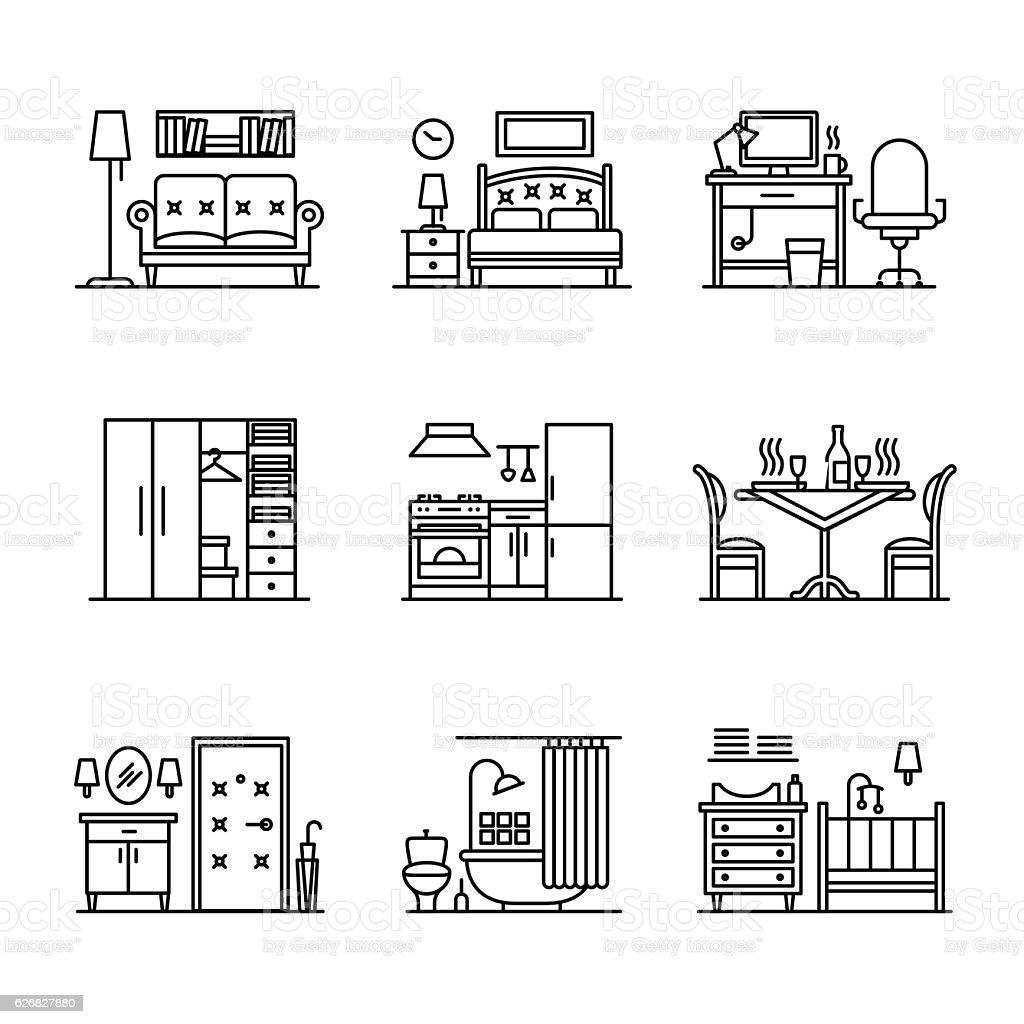 Home room types furniture signs set vector art illustration