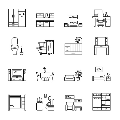 Home room vector line icons set. Types of rooms and premises in the house. Concept for web banners and printed materials