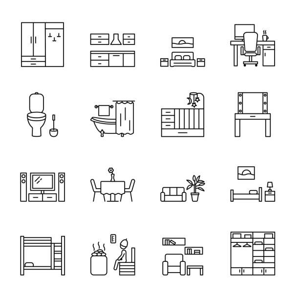 home raum vektorlinie symbole gesetzt. arten von zimmern und räumlichkeiten im haus. konzept für webbanner und drucksachen - gourmet küche stock-grafiken, -clipart, -cartoons und -symbole