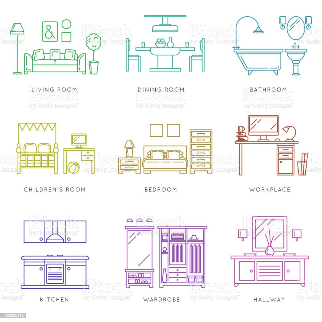 Home rooms interior in linear style. Vector icons set vector art illustration