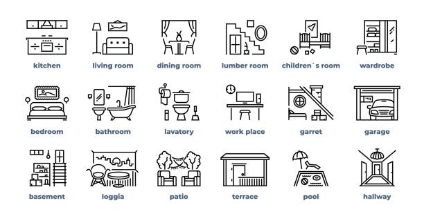 Home rooms line icons. Living room bedroom kitchen bathroom simple outline pictograms. Vector home furniture set vector art illustration