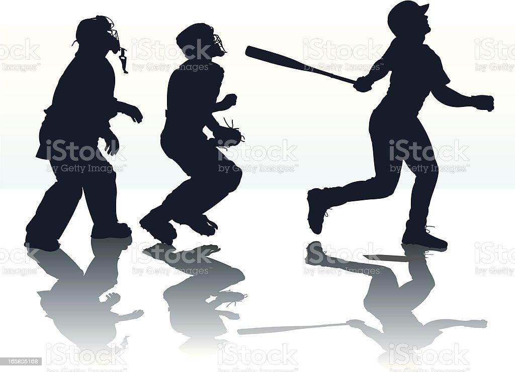 Home Run - Baseball Batter Hitting or Pop Fly vector art illustration