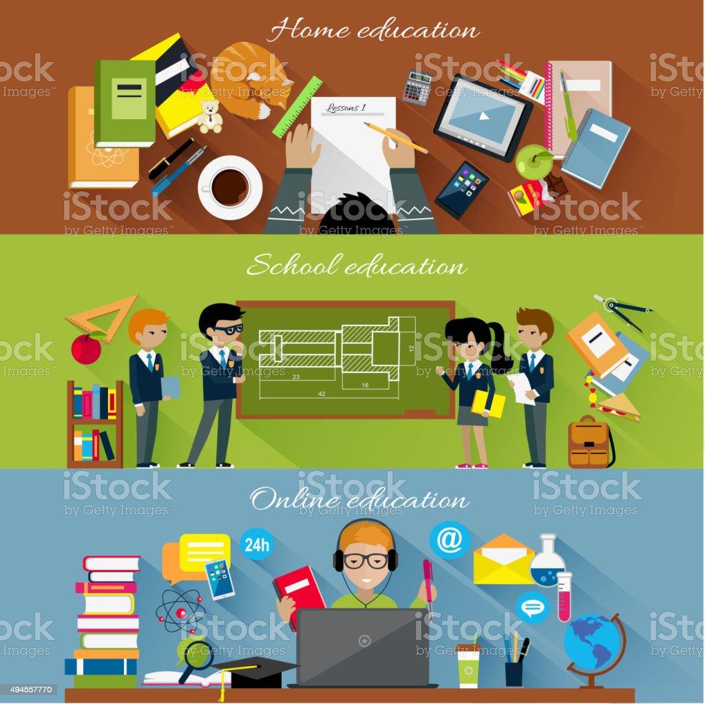 ホーム学校とオンライン教育のコンセプト ベクターアートイラスト