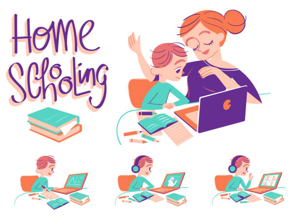 home school boy with mom - e-learning not icons stock illustrations