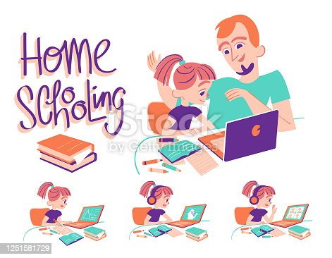 istock Home School Girl with Dad 1251581729