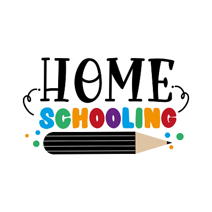 Home schooling Sign. Isolated colorful letters on a white background. Vector illustration.