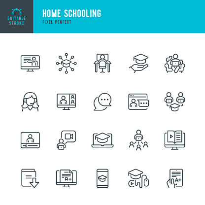 Home Schooling - thin line vector icon set. Pixel perfect. Editable stroke. The set contains icons: E-Learning, Homework, Home Schooling, Education, Graduation, Webinar.