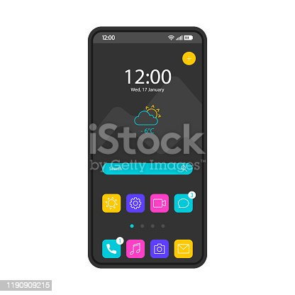 istock Home screen smartphone interface vector template 1190909215