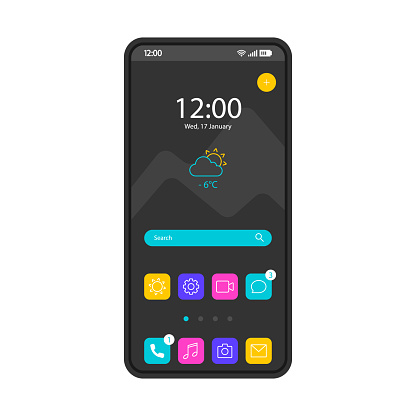 Home screen smartphone interface vector template