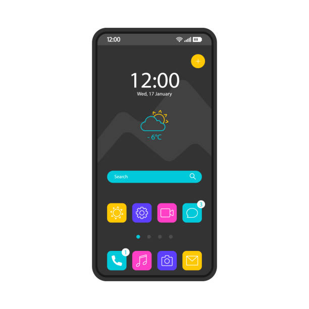 Home screen smartphone interface vector template Home screen smartphone interface vector template. Mobile operating system page black design layout. Search bar, forecast. Start screen with app icons, shotcuts. Flat UI for application. Phone display device screen stock illustrations