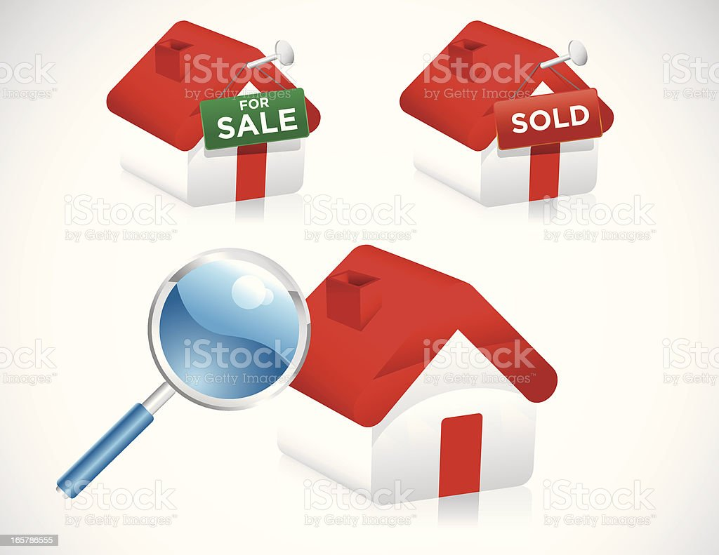 Home Searching Icons royalty-free stock vector art