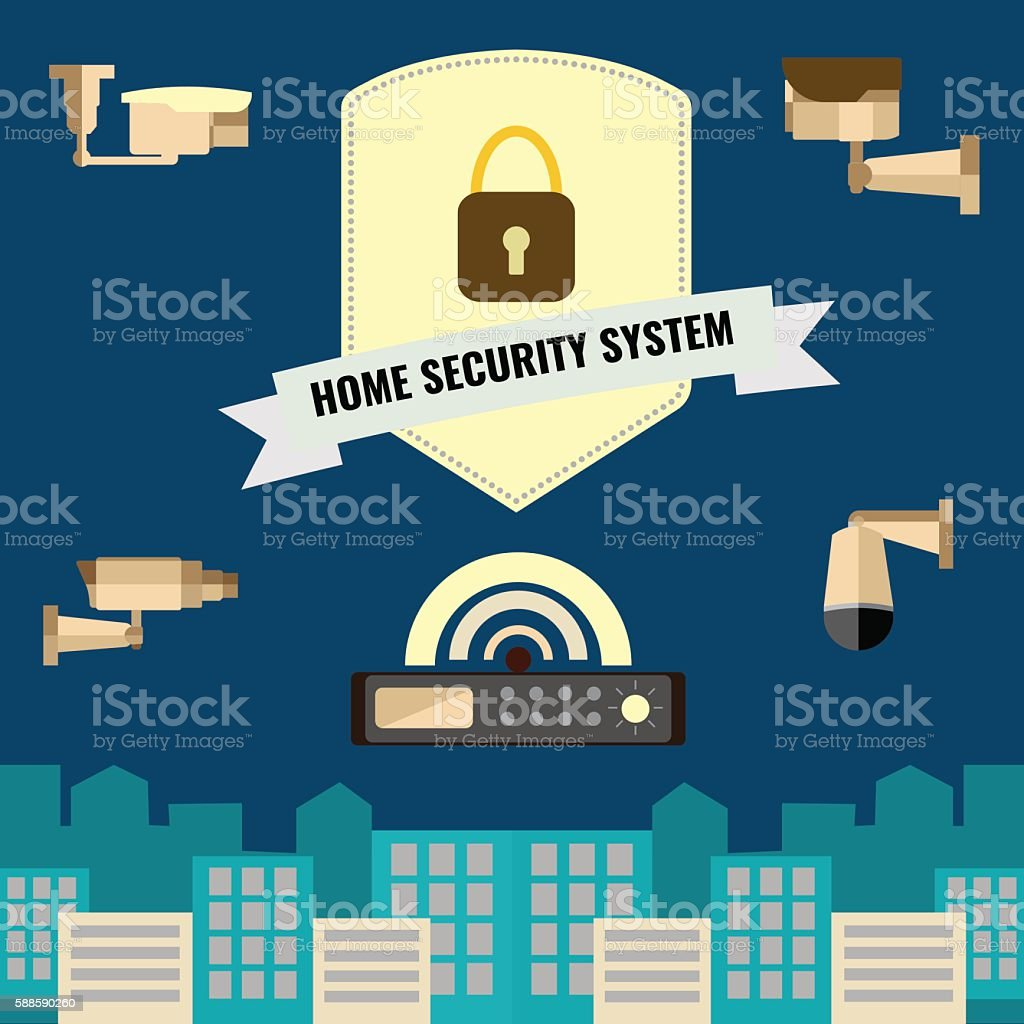 Home Security Cctv Cam System Flat Design Set Stock Vector Art