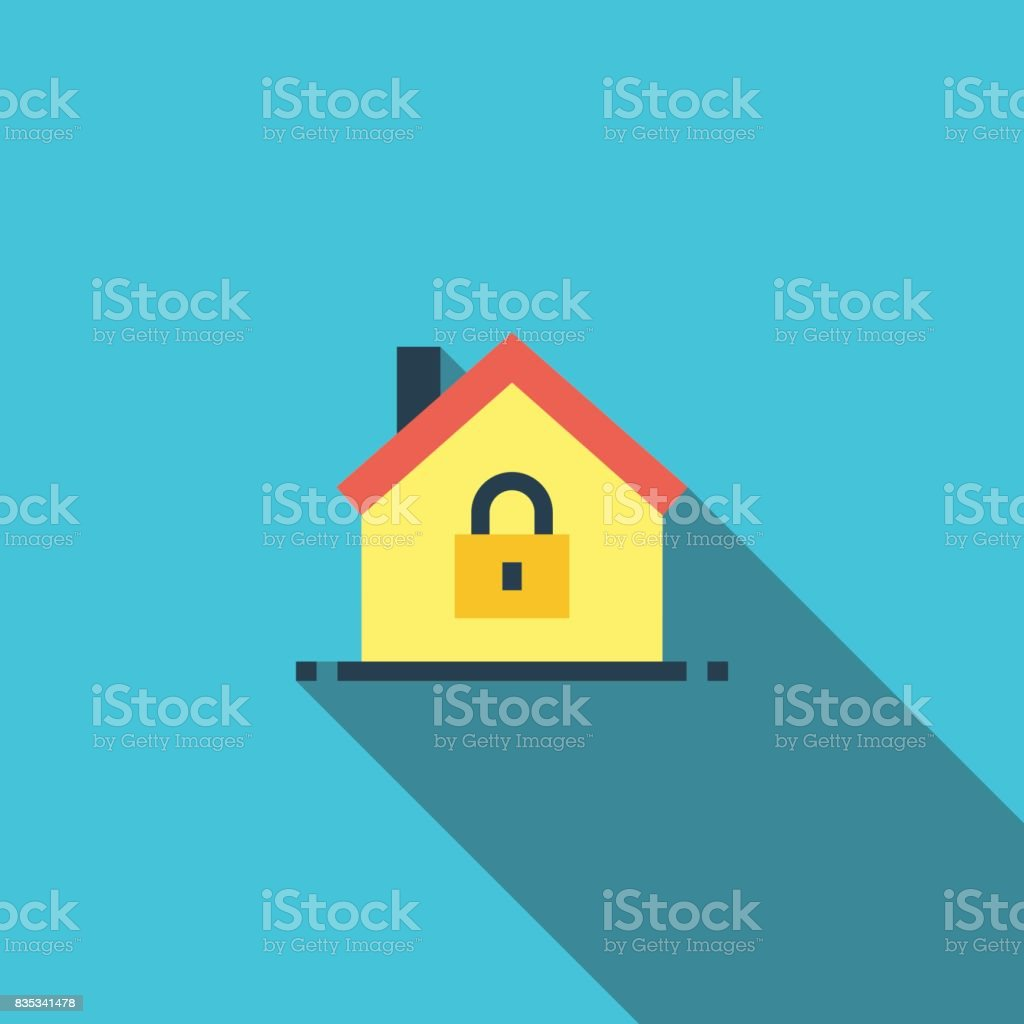 Home Security Flat Icon vector art illustration