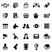 Icons related to home security. The icons represent different methods used in keeping a home secure from burglary or break in. Icons include home alarm, locks, lights, law enforcement, security, watch dog, family, safe, security camera, home monitoring, criminal and gun to name a few.