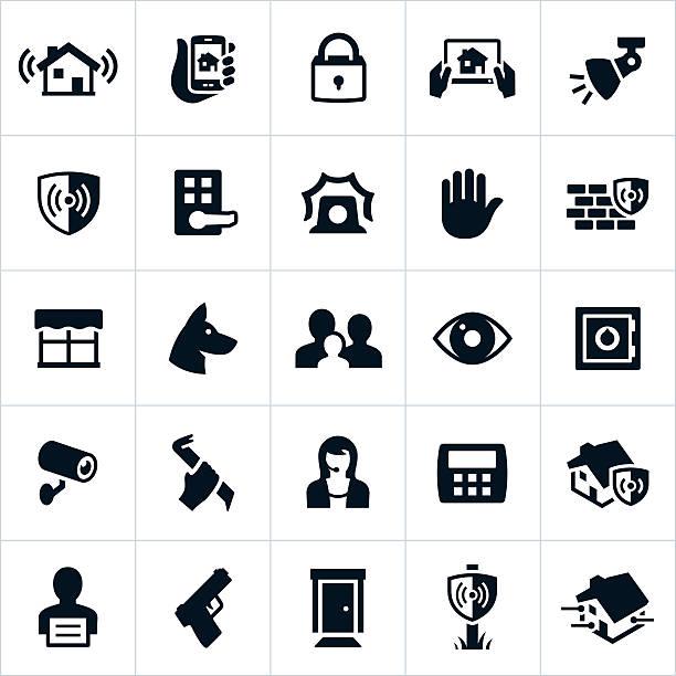 stockillustraties, clipart, cartoons en iconen met home security icons - alarm, home,