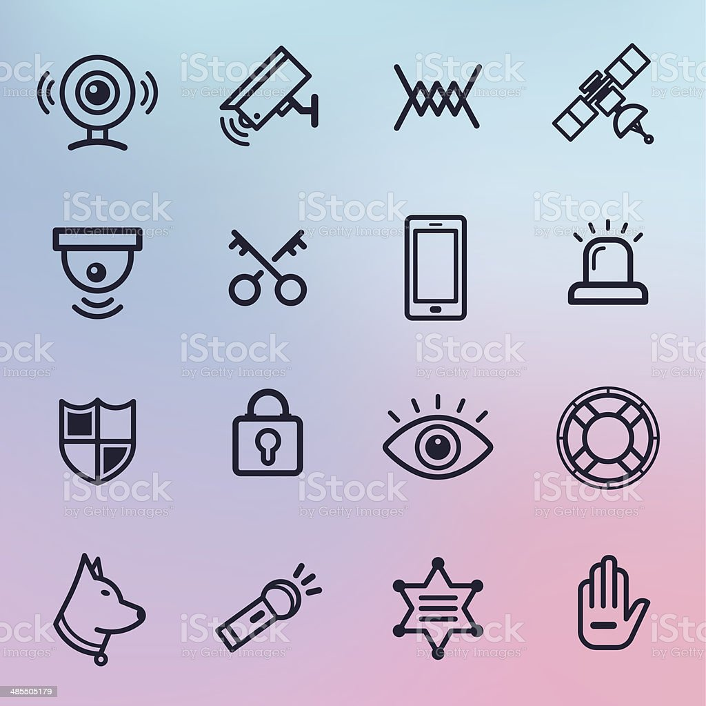Home Security Line Icons vector art illustration