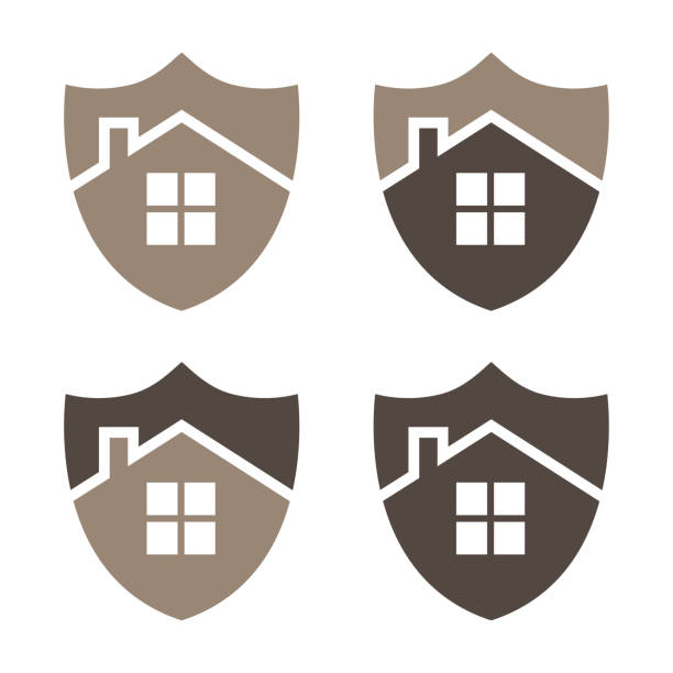 Home security shield vector illustration. EPS 10. Vector vector art illustration