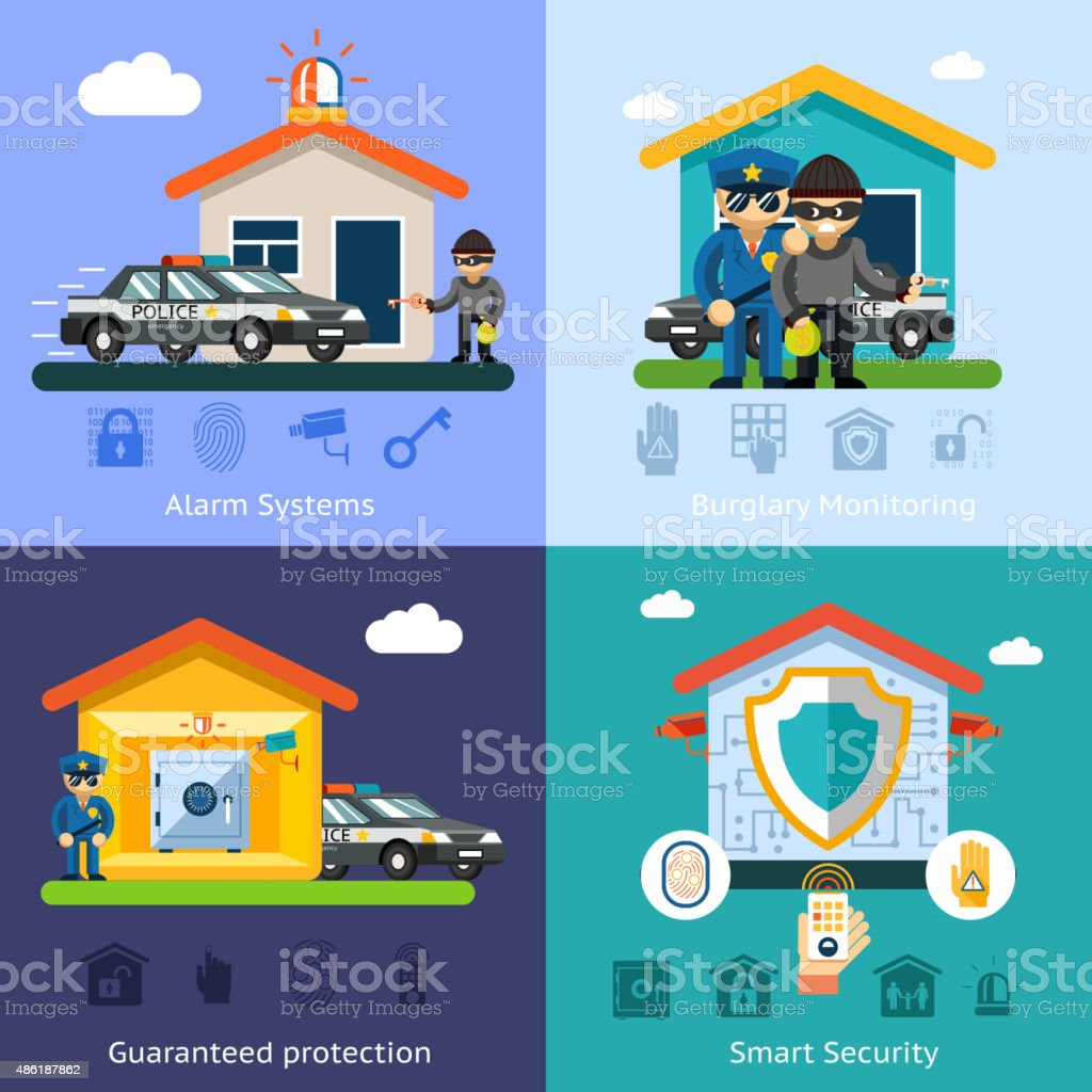 Home Security System Flat Vector Background Concepts Stock Vector