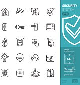 """20 vector and perfect pixel """"stroke style"""" icons set representing a Smart House and Home security system theme."""