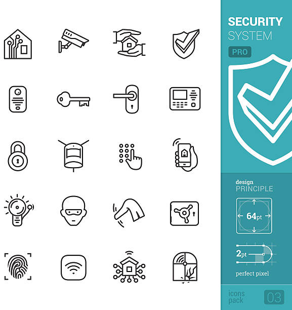 Home security system vector icons - PRO pack 20 vector and perfect pixel