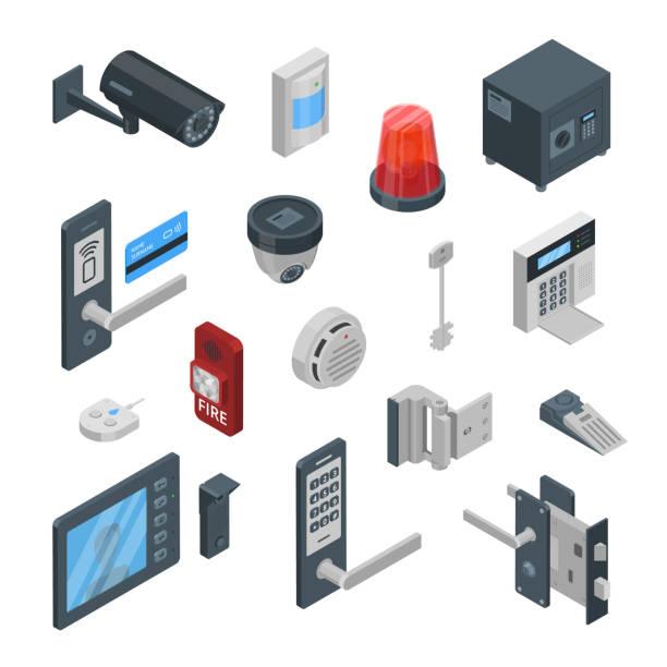 ilustraciones, imágenes clip art, dibujos animados e iconos de stock de sistemas de seguridad vector iconos isométricos 3d y elementos de diseño. tecnologías inteligentes, seguridad casa, concepto de control. - equipo de seguridad