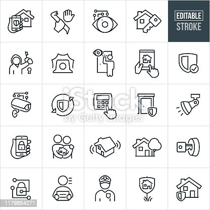 A set of home security icons that include editable strokes or outlines using the EPS vector file. The icons include home security, security alarm, security system, house, technology, automation, burglar, criminal, break-in, robbery, theft, surveillance, security camera, house key, locked, lock, police, policeman, monitoring, alarm, security shield, flood light, alarm system, secure door and other related conceptual icons.