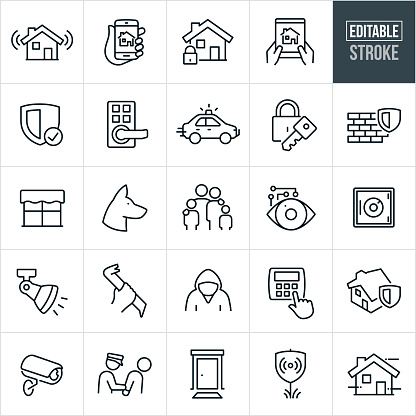 Home Security Thin Line Icons - Editable Stroke