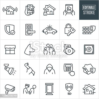 A set of home security icons that include editable strokes or outlines using the EPS vector file. The icons include a home security system, home automation using a smartphone, home and lock, home security control using tablet PC, security shield, door handle with keypad lock, police car, lock and key, brick wall with security shield, window, security dog, family, home monitoring, security camera, safe, home lighting, criminal with crowbar, criminal, home security system, police officer arresting criminal, front door, security alarm system sign and other icons.