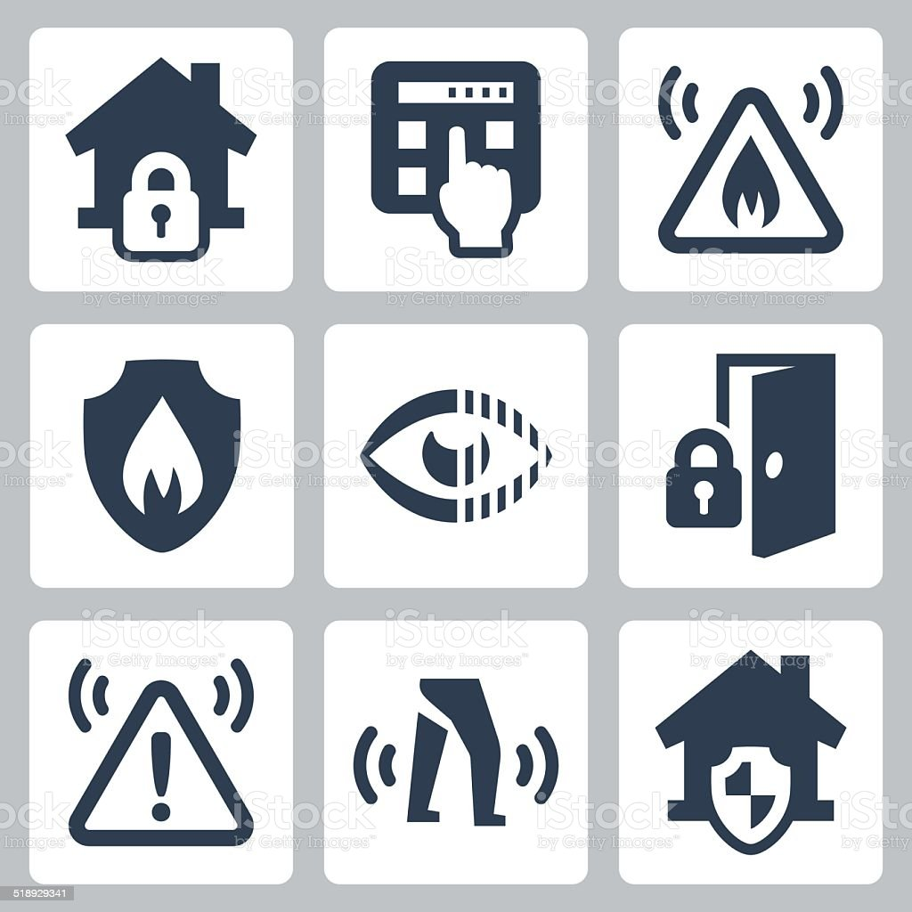 Home security vector icons set vector art illustration