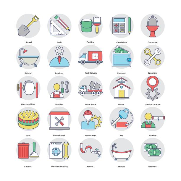 Home Services Flat Circular Icons Set 5 Set of flat rounded home services icons. pipefitter illustrations stock illustrations