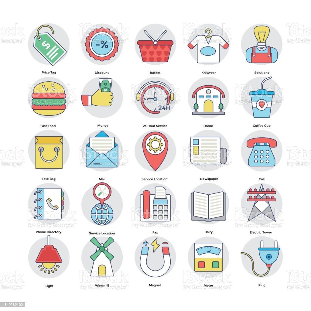 Home Services Flat Circular Icons Set 7 vector art illustration