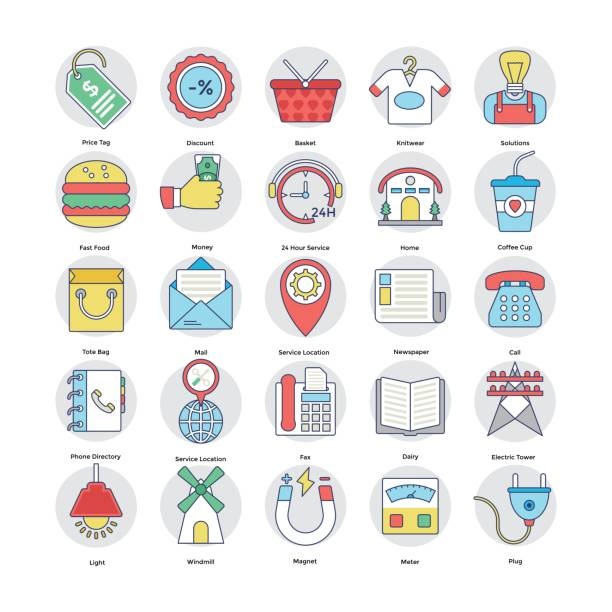 home services flat circular icons set 7 - electrical wiring home stock illustrations, clip art, cartoons, & icons