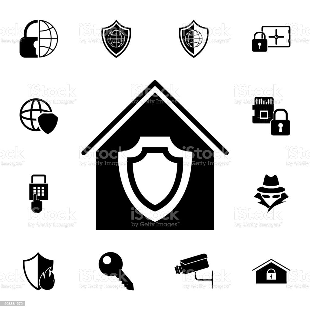 Home Shield Icon Set Of Cybersecurity Icons Signs Outline Symbols