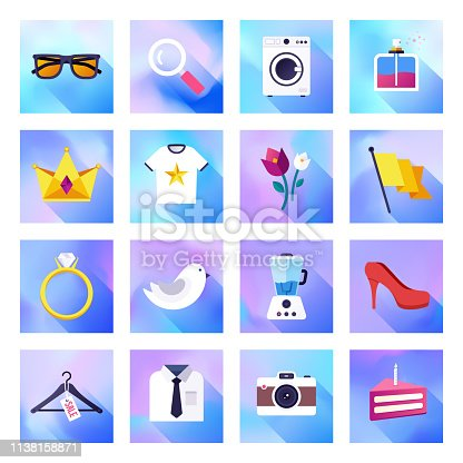 Home shopping service holographic gradient style concept symbols. Flat design vector icons set for infographics, mobile and web designs.