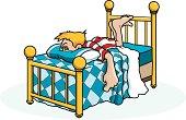 Adobe Illustrator cartoon of boy in bed sick or bored.
