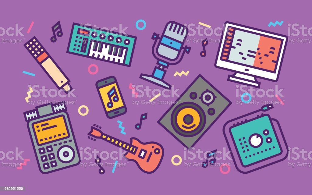 Home Sound Recording Studio Concept Line Art Bright Colors Illustration. Contemporary Trendy Vector Icons. royalty-free home sound recording studio concept line art bright colors illustration contemporary trendy vector icons stock vector art & more images of arts culture and entertainment