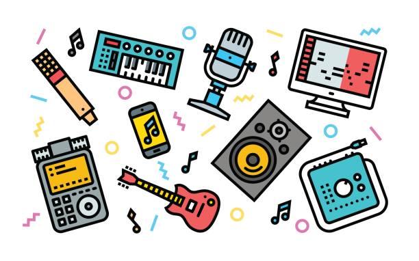 home sound recording studio concept line art helle farben abbildung. - kondensation stock-grafiken, -clipart, -cartoons und -symbole