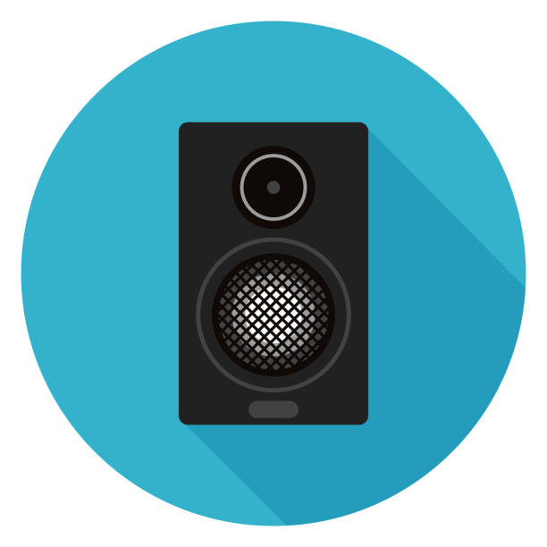 Home sound system icon. Illustration in flat style. Round icon with long shadow. stereo stock illustrations