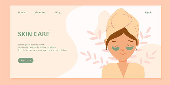 Home spa skin care. Landing page template or banner. Woman doing cosmetic spa treatments for her face. Eye patches and cream. Organic food. Vector illustration in flat cartoon style.