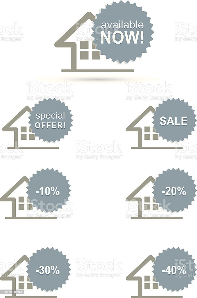 home stickers set royalty-free stock vector art