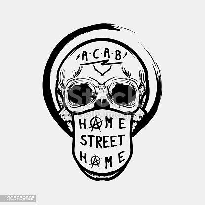 istock Home Street Home Skull Wearing Mask Protest T-shirt Design Illustration 1305659865