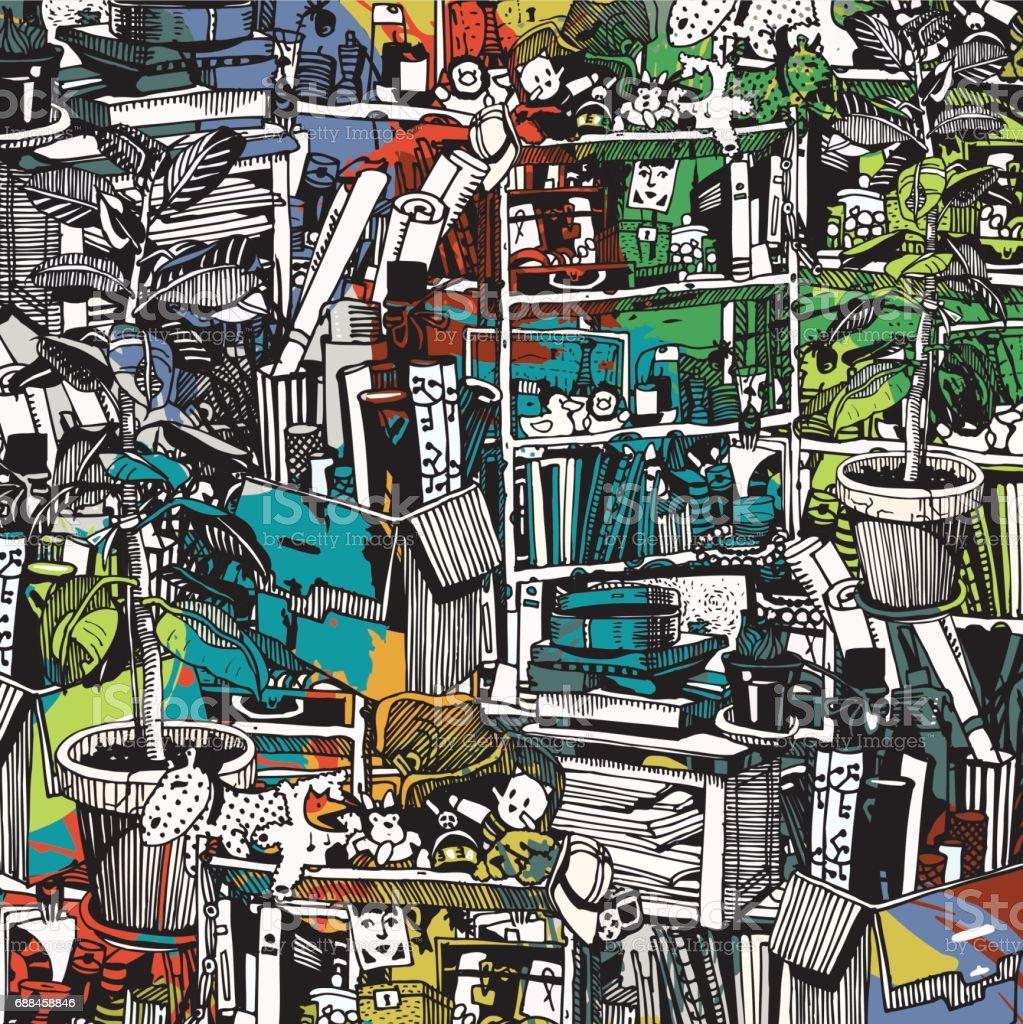 Ilustración de Cosas Casa Collage Con Textura y más banco de ...