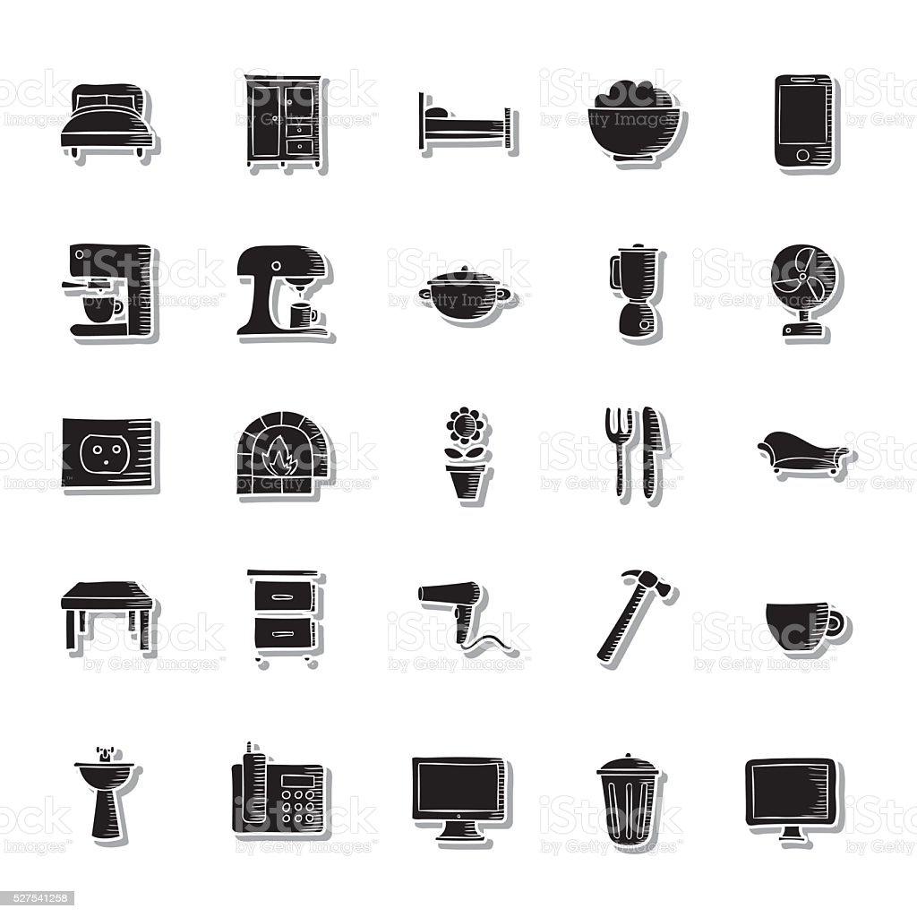 Haus Sachen Symbolset Stock Vektor Art und mehr Bilder von Computer ...