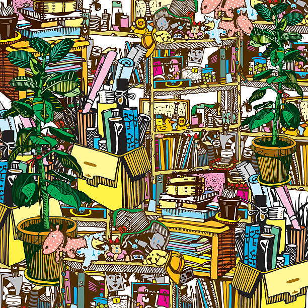 illustrazioni stock, clip art, cartoni animati e icone di tendenza di home stuff. messy and chaotic room of artistic person. - disordinato