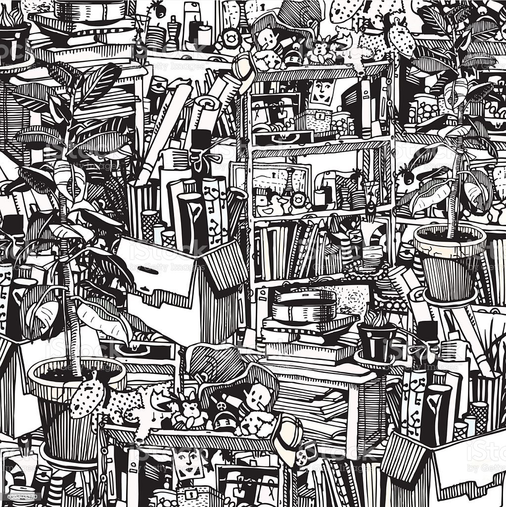 Home Stuff. Messy and Chaotic Room of Artistic Person. vector art illustration