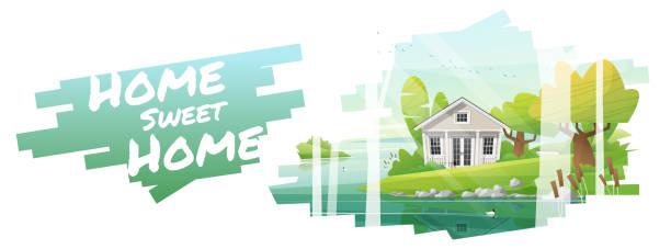 home sweet home, schöne landschaft und ein kleines haus hintergrund, vektor, abbildung - landhaus stock-grafiken, -clipart, -cartoons und -symbole